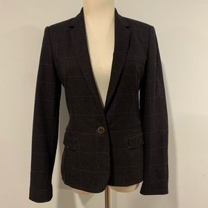 Zara windowpane patched elbow blazer